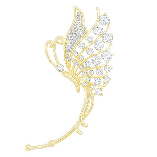 Butterfly Ear Wrap Art Deco Clear Crystal Gold Climber Earring Cuff Clip on Earring for Left Side Ear -