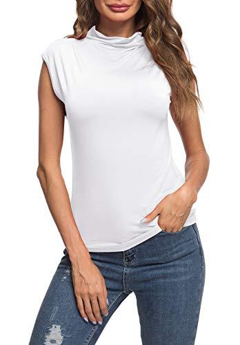 (AUHEGN Women Light Weight Sleeveless Long Sleeve Mock Neck Turtleneck Top T-Shirt(White, Small))