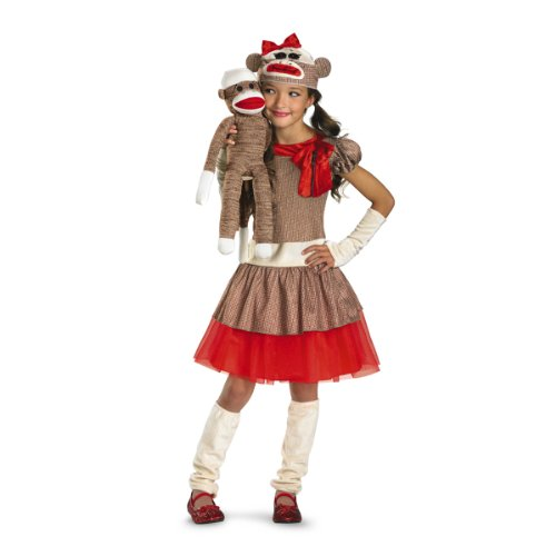 Disguise Sock Monkey Girl Costume, Beige/Brown/Red,