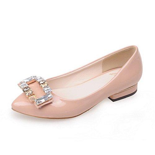 Allhqfashion Kvinners Trekke På Lav Hæl Patent Lær Solid Pekte Lukkede Tå Pumper-sko Rosa