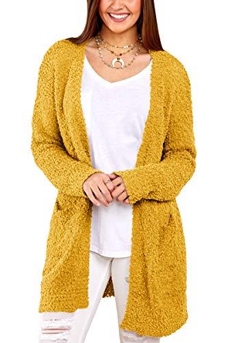 (Inorin Womens Long Oversized Open Front Cardigan Sweater Fall Fuzzy Wrap Coat Sherpa Jacket with Pockets Yellow)