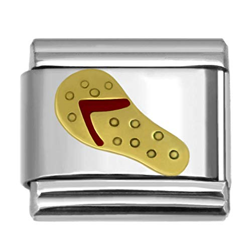 Flip Flop Italian Charm - SilverAndJewelry Flipflop Italian Charm Stainless Steel Bracelet Link