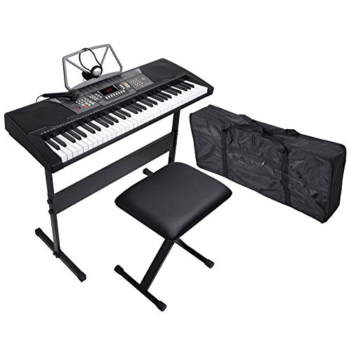 LAGRIMA 61 Key Portable Electric Piano Music Keyboard, Bundle W/H Stand, Microphone, Headphone, Bag, Bench, Music Stand and Power Supply, Suit for Kids (Over 8 Years Old) Teen Adult Beginner