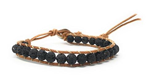 ion Unisex Single Wrap Handmade Uncoated Lava Bracelet, Essential Oils Diffuser Bracelet, 6mm Bead Size ()