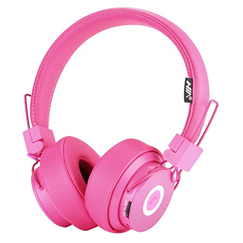 Bluetooth Headphones Over Ear, Hi-Fi Stereo Foldable On-Ear Headset with Microphone, APP to Control Headphones, Soft Earmuffs Support SD Card FM Radio Wired and Wireless Headset for Kids Adults, Pink