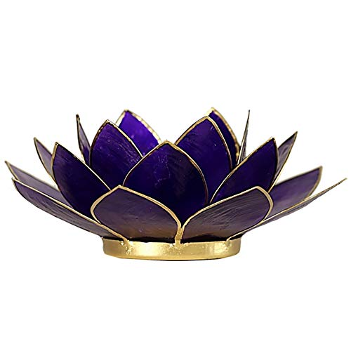 FindSomethingDifferent Lotus Candle Holder Capiz Shell Violet Chakra 7