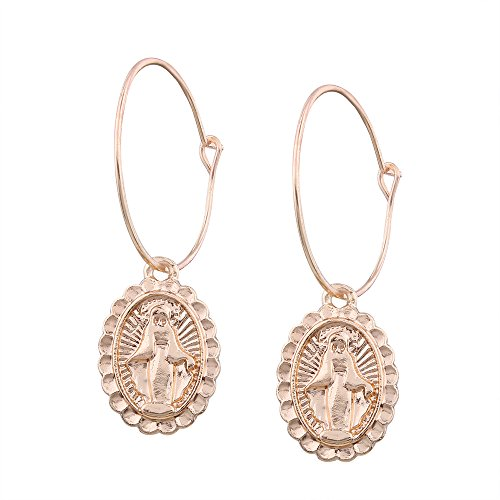 MUZHE Gold Religion Jesus Virgin Mary Portrait Pendant Earrings for Mother's Day Gifts ()