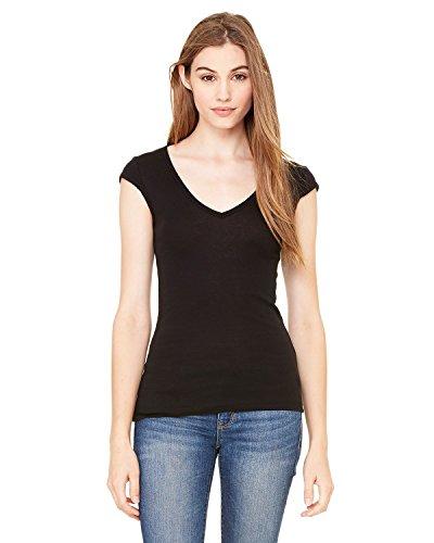Bella + Canvas Ladies Sheer Mini Rib Cap-Sleeve Deep V-Neck T-Shirt - Black - XL - (Style # B8705 - Original Label)