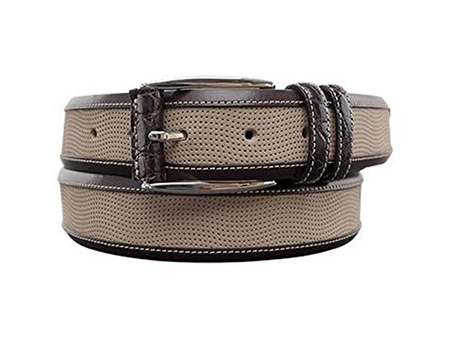 [Mezlan Mens Genuine Crocodile, Nubuck & Ascot Calfskin, TAUPE/BROWN, 36 (AO9481)] (Mezlan Crocodile Belt)