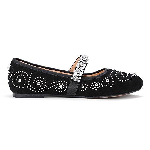 Nine Seven Cuero Puntera Redonda Bailarinas de Cordones con Diamantes de imitacion para Mujer negro