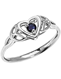 Dainty 10k White Gold Trinity Knot Heart Solitaire Sapphire Engagement and Proposal Ring