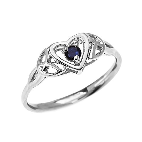 Dainty 10k White Gold Trinity Knot Heart Solitaire Sapphire Engagement and Proposal Ring (Size 4)