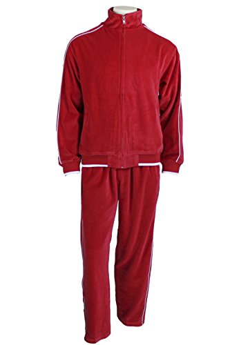 Mens Velour Tracksuit (Large, Red) (Jogging Velour Suit)