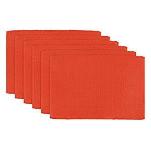 "DII 100% Cotton, Ribbed 13x 19"" Everyday Basic Placemat Set of 6, Ribbon Red"