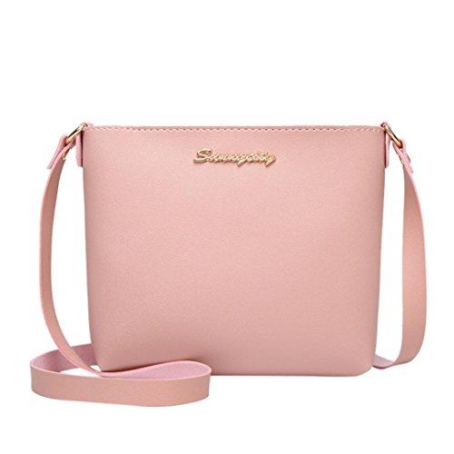Spritumn Soft Leather Leather Women's Cross Body Bag Fashion Solid Color Messenger Bag Crossbody Bag Phone Coin key Ring Bag Pink