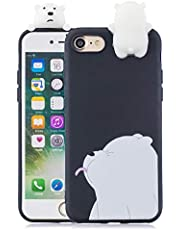 Soft Silicone Case for iPhone SE 2020/iPhone 8/7 4.7 inch,Aoucase Slim Thin 3D Animals Pattern Gel Rubber Drop Protection Protective Case with Black Dual-use Stylus,White Bear