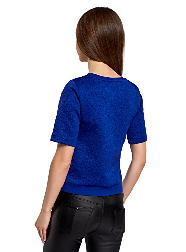 oodji Collection Mujer Suéter de Tejido Texturizado con Manga Corta Azul (7500N)