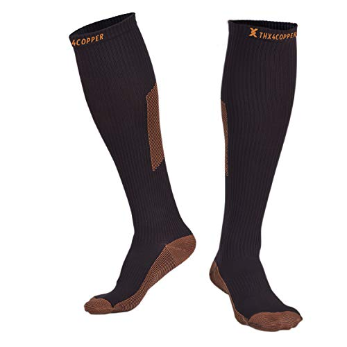 Thx4 Copper Sox Compression Crossfit Socks (15-20mmHg) for Men &Women, Guaranteed Copper Infused Stockings Guard for Running, Athletic, Shin Splint, Nursing, Travel-1 Pair-Large&XL ...