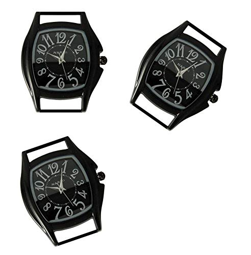 Watch Ribbon Geneva Face - PlanetZia 2pcs Rectangle Ribbon Watch Faces for Your Interchangeable Beaded Bands TVT-4158 (2pcs Black Paint)