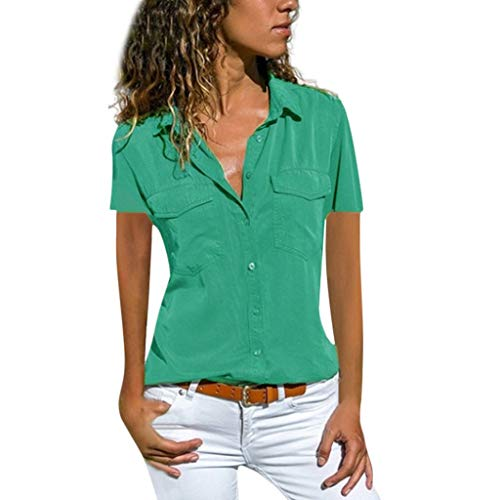 MILIMIEYIK Blouse Women's V Neck Blouse Short Sleeve Button Down Work Shirts Office Casual Tops Green