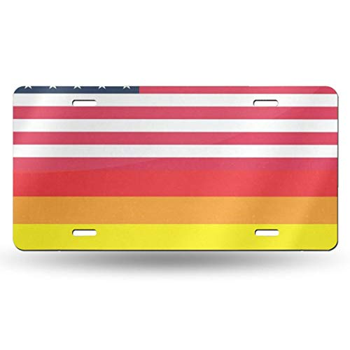 (FunnyCustom License Plate Frame United States America and LGBT Flag Creative Aluminum Metal Tag Holder Waterproof 12 x 6 Inch Decoration 1)