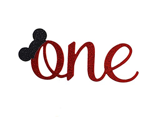 CMS Design Studio Handmade 1st First Birthday Cake Topper Decoration - One with Mouse Ears - Made in USA with Double Sided Glitter -