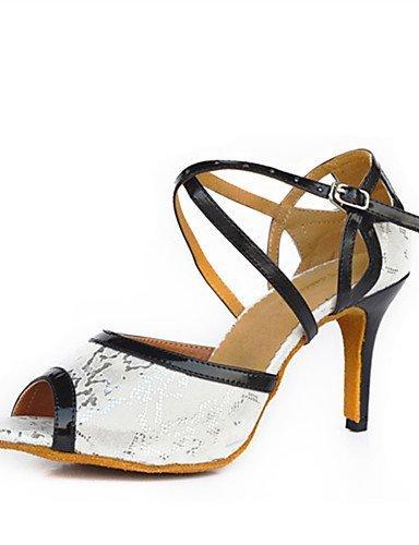 blancpersonnalisables Shangyi flocage Danse De latineModerne talon Aiguille White Chaussures qzVpGMSU