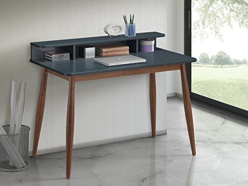 Roundhill Furniture CD05 Roskilde Storage Wood Office Desk, Gray/Blue