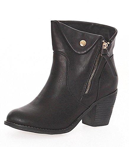 Matyfashion Damen Stiefeletten/Ankle Boots/Bikerstiefel mit Blockabsatz in Lederoptik NE16 Schwarz
