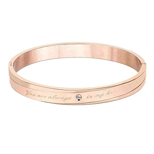 KnSam Women Stainless Steel Cuff Bracelets Lettering You Are Always In My Heart Rose Gold