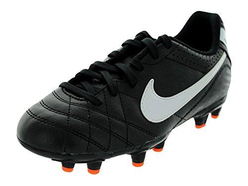Nike Kids's JR Tiempo Natural IV FG Soccer Cleats 1 (Black/White/Total Orange)