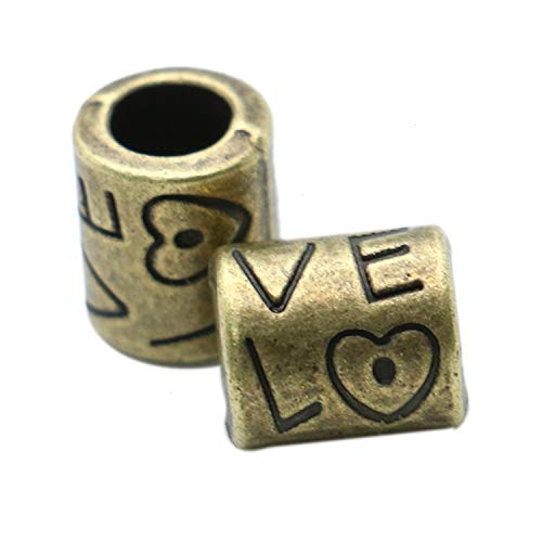 Monrocco 60Pcs Antique Bronze Love Lagre Spacer Beads Vintage Alloy Beads for Jewelry Making and Crafting -