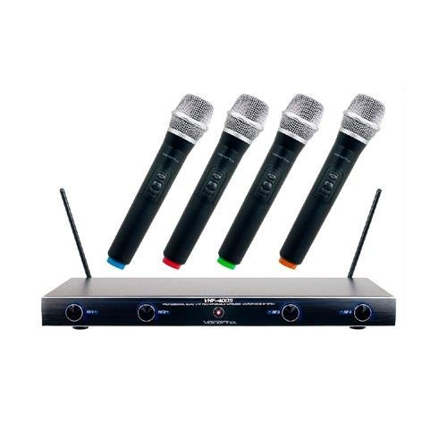 VocoPro VHF-4005 4 Channel Rechargeable VHF Wireless Microphone System, Includes Receiver and 4x Microphones - Channel 2 4 Channel Vhf Wireless Microphone