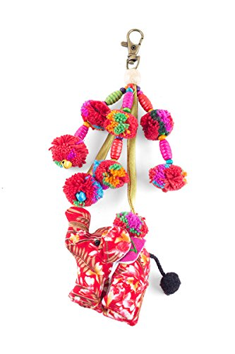Mini Elephant Doll Accessories Bag Zip Pull Tessal with Pompoms Handmade By Hmong