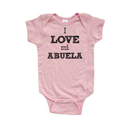 Apericots I Love Mi Abuela Spanish My Grandma Cute Short Sleeve Baby Bodysuit Light Pink ()