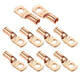 """Ampper Heavy Duty Copper Wire Lugs, UL Eyelets Ring Crimp Copper Terminal Connectors for Battery Cable Ends and More (4 Awg, 1/4"""" Ring, 10 Pcs)"""