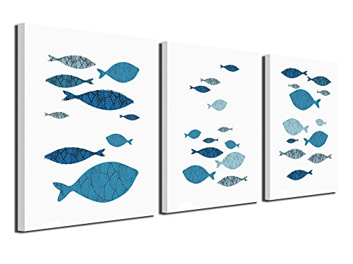 A Cup of Tea Abstract Fish Canvas Prints Blue Wall Art Pictures Fishes Paintings Artworks for Living Room Bedroom Office Decoration, 16x12 inch, 3 Pcs Framed