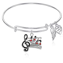 Expandable Wire Bangle Bracelet with Music Note Charm and Angel wing Charm Silver Finish GIFT BOXED