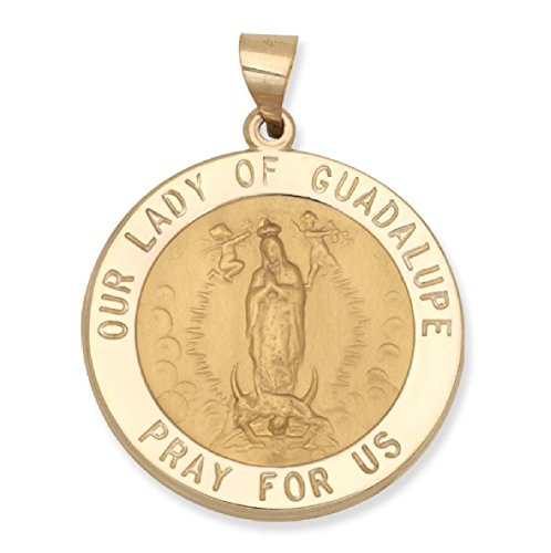 Genuine 14K Yellow Gold Round Our Lady of Guadalupe Medal (5/8