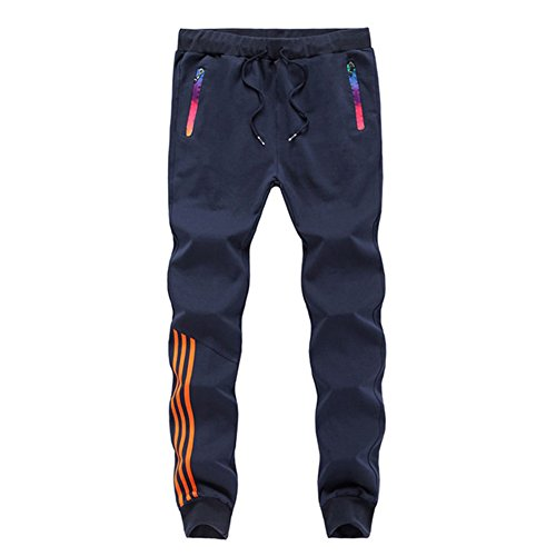 LBL Men's Jogger Sweatpants Workout Running Slim Fit Sports Trousers for Gym Training Navy XL #201