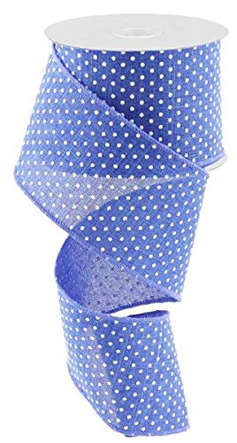 Royal Blue White Raised Swiss Polka Dots Wired Ribbon (2.5 Inches x 50 Yards)