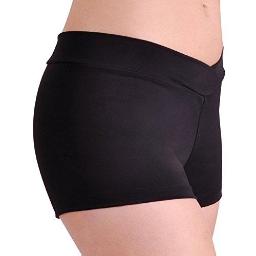 - DanceNwear Adult Nylon/Lycra V-Waist Shorts Black