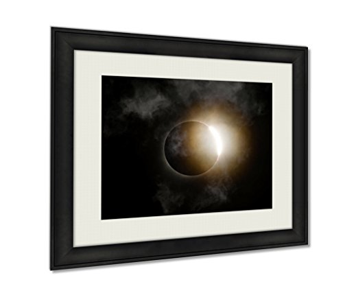 Eclipse Path Light (Ashley Framed Prints, Total Solar Eclipse Diamond Ring With Clouds, Wall Art Decor Giclee Photo Print In Black Wood Frame, Ready to hang, 20x25 Art, AG6464614)