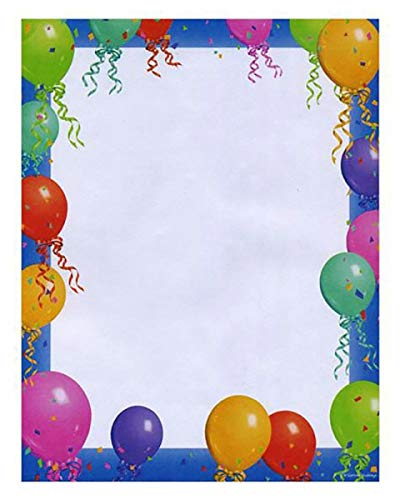 Stationery Paper With Balloon Printed Border (Pack of 100 Paper Sheets) | Letter Writing Stationery Paper, Paper for Art & - Birthday Imprintable Invitations
