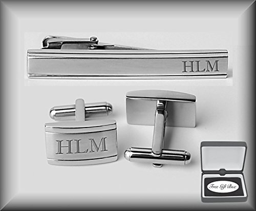 Personalized Stainless Steel Rectangle Cufflinks & Tie Clip Set Engraved (Engraved Personalized Cufflinks)