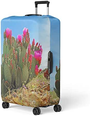 Semtomn Luggage Cover Red Bloom Prickly Pear Cactus Blooming Cacti Southwest Travel Suitcase Cover Protector Baggage Case Fits 26-28 Inch
