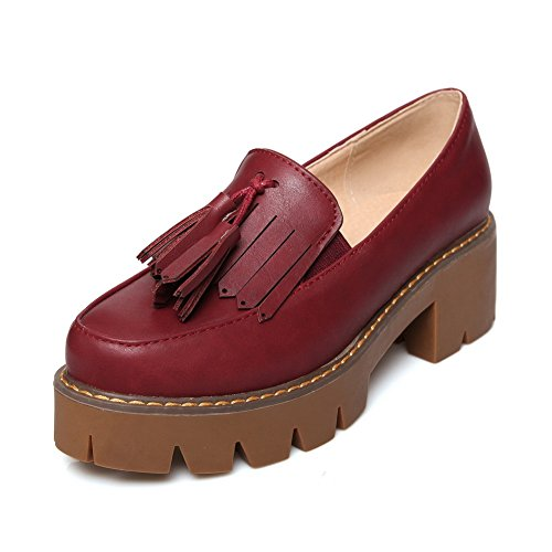 BalaMasa Womens Tassels Platform Square Heels Imitated Leather Pumps-Shoes Claret