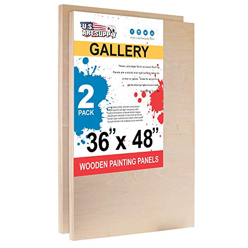 U.S. Art Supply 36 x 48 Birch Wood Paint Pouring Panel Boards, Gallery 1-1/2 Deep Cradle (Pack of 2) - Artist Depth Wooden Wall Canvases - Painting Mixed-Media Craft, Acrylic, Oil, Epoxy Pouring