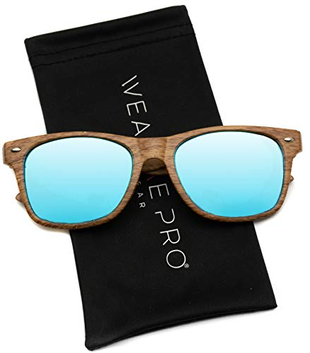 Faux Wood Reflective Revo Color Lens Horn Rimmed Style Sunglasses,Light Wood Print / Mirror Blue