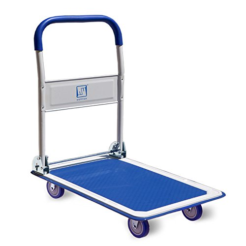 Push Cart Dolly by Wellmax | Functional Moving Platform + Hand Truck | Foldable for Easy Storage + 360-degree Swivel Wheels + 330lb Weight Capacity | Blue Colour by Wellmax (Image #1)